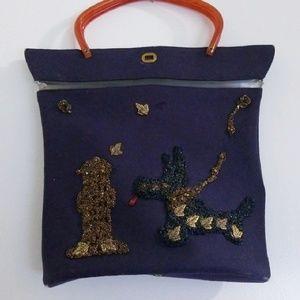 Vintage poodle scottie dog purse beaded purse